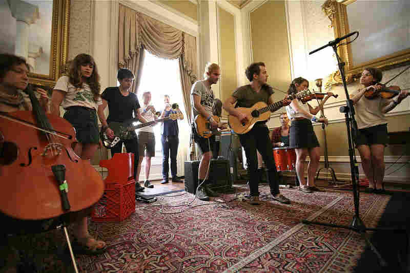 The twelve piece band Typhoon recording a special Tiny Desk Concert from Austin.