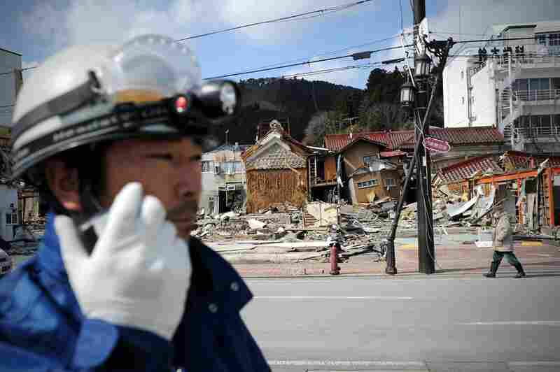 A Japanese rescue worker in Kesennuma, Miyagi prefecture, on Friday, one week after a massive earthquake and tsunami devastated northeastern Japan.