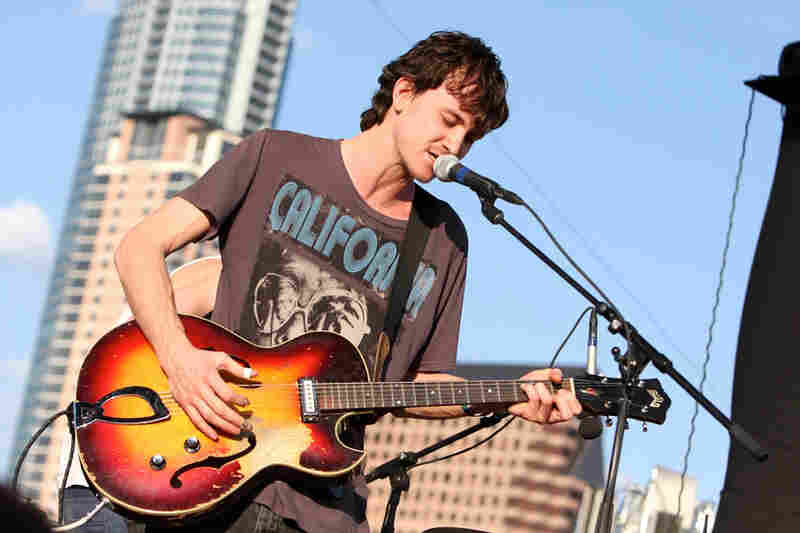 The Austin skyline was a beautiful backdrop during The Felice Brothers' set at Auditorium Shores.