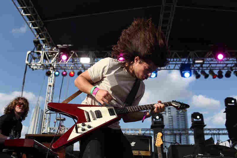 A Gibson Flying V sighting during the Middle Brother set at Auditorium Shores.