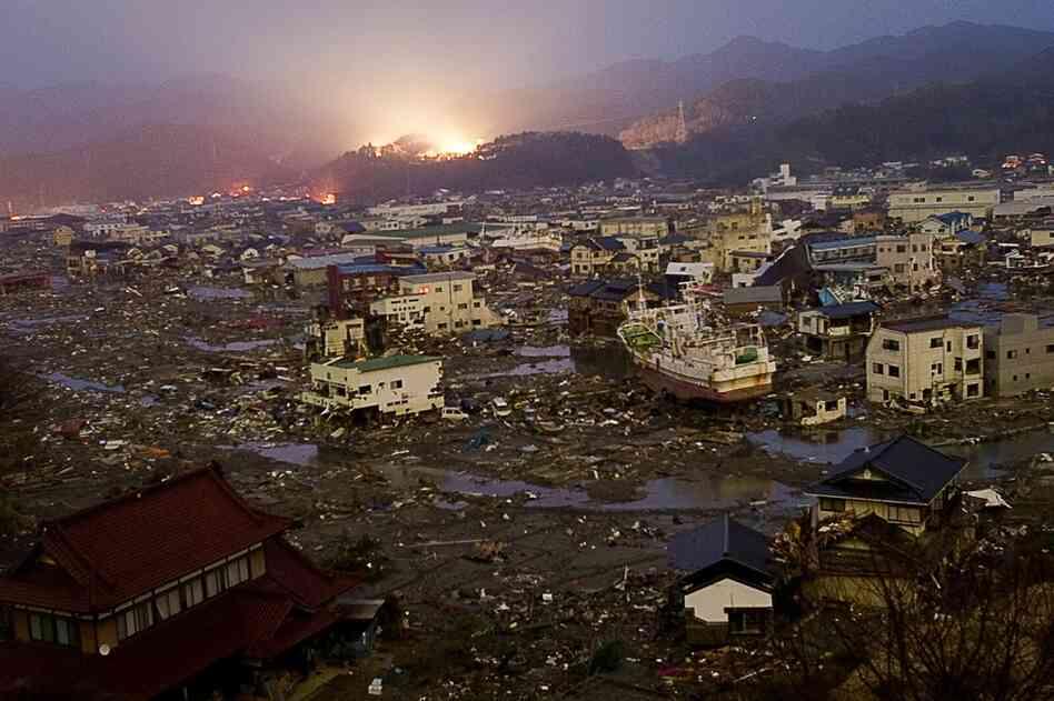 Destruction reigns in the city of Kessennuma, Miyagi prefecture on March 20.