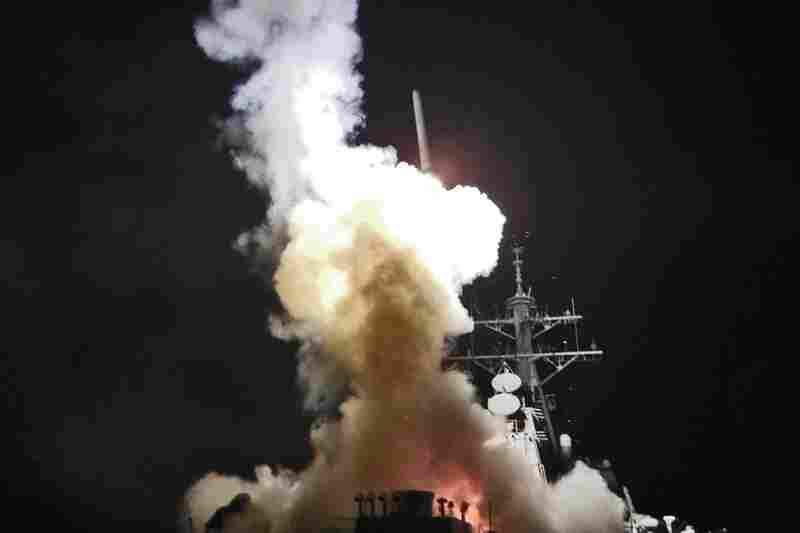 A Tomahawk missile launches toward Libya from the USS Barry in the Mediterranean Sea.