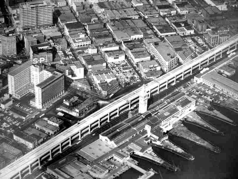 The Embarcadero Freeway, circa 1960, as it once existed along San Francisco's waterfront.