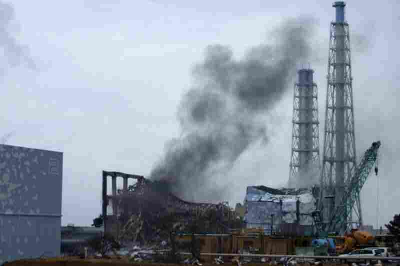 Smoke rises from Unit 3 of the tsunami-stricken Fukushima Dai-ichi nuclear power plant in Okumamachi, Fukushima prefecture on March 21.