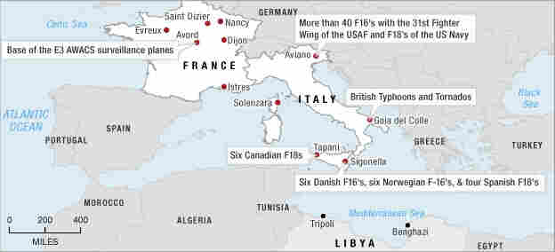 Locations of allied forces taking part in operations over Libya.