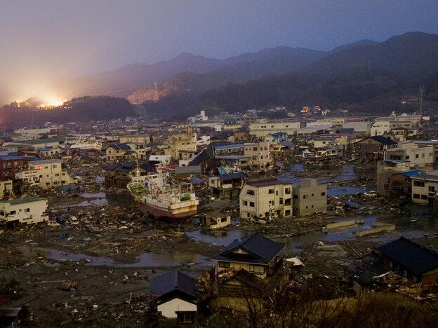 Tsunami damage in Kessennuma, Miyagi prefecture on March 20, 2011.