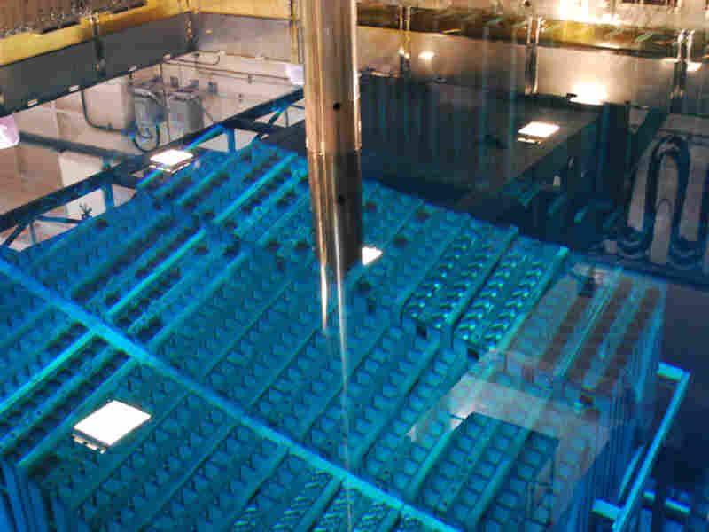 Spent nuclear fuel rods are stored in pools of water at Japan's Fukushima Dai-ichi nuclear power plant. The water keeps the rods cool while protecting the environment from their radiation.
