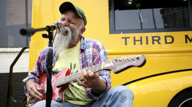 Seasick Steve performs as part of Third Man Records Rolling Record Store's public debut at SXSW 2011 in Austin, Texas. (NPR)