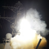 The destroyer USS Stout  launches a Tomahawk missile towards Libya, March 19, 2011.