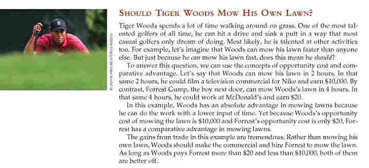 Tiger Woods in Principles of Economics.