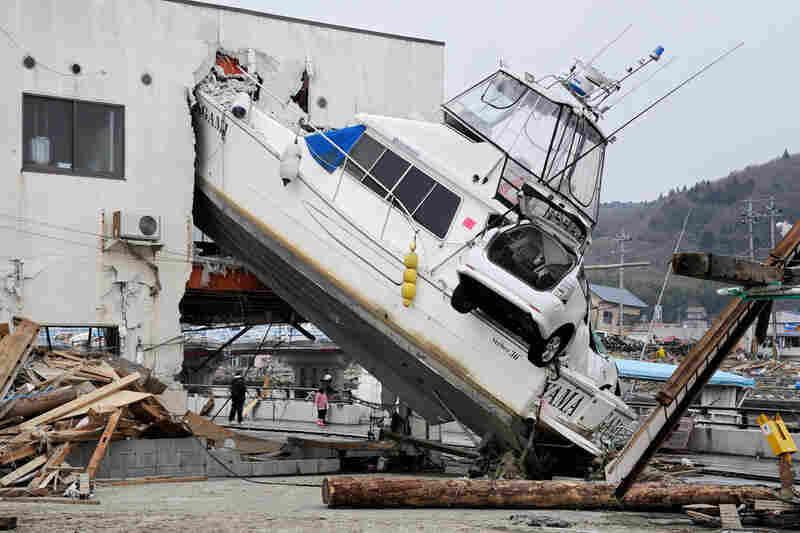Massive pieces of rubble remain untouched in Ishinomaki, Miyagi prefecture.