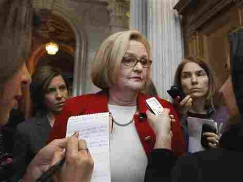 Sen. Claire McCaskill talks with reporters, Tuesday, Feb. 15, 2011.