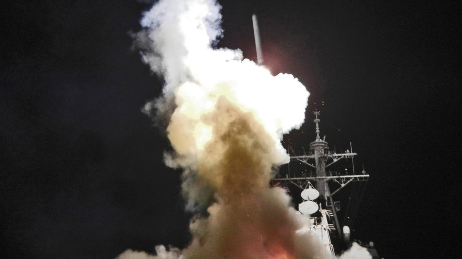 The USS Barry launches a Tomahawk cruise missile Saturday in support of Operation Odyssey Dawn. The operation targeted radar and anti-aircraft sites along Libya's Mediterranean coast. (Getty Images)