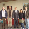 (Left to right) New York Times journalists Stephen Farrell and Tyler Hicks, Turkish ambassador Levent Sahinkaya, and Times journalists Lynsey Addario and Anthony Shadid, at the Turkish Embassy in Tripoli, Libya, on Monday. Turkish diplomats helped secure the journalists' release.