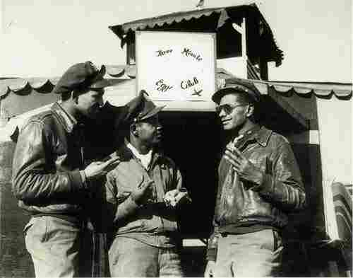 """During World War II, long and dangerous missions  often meant that fighters returned to their bases with only enough fuel  in their airplanes to fly for three minutes.  Pilots of the 15th Army Air  Force Squadron formed """"The Three Minute Egg Club.""""  Membership was  limited to pilots who landed within these narrow margins.  Circa 1944."""