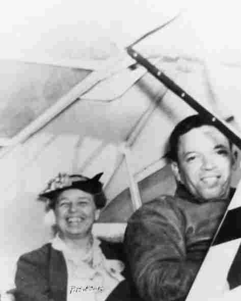 """Eleanor Roosevelt and pilot C. Alfred """"Chief"""" Anderson,  primary flight  instructor at the Tuskegee Institute, 1941."""