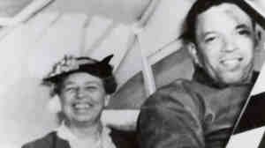 "Eleanor Roosevelt and pilot C. Alfred ""Chief"" Anderson,  primary flight  instructor at the Tuskegee Institute, 1941."