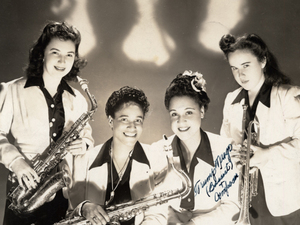 Four members of the International Sweethearts of Rhythm, circa 1944. Rosalind Cron, one of the group's first white members, stands at the far left.