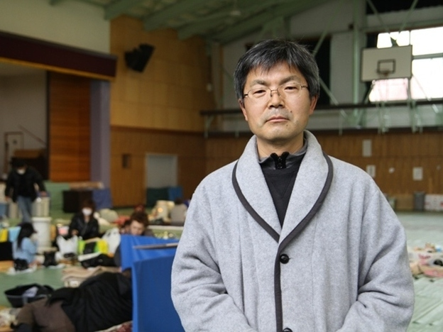 Yamano Satoshi is now a disaster coordinator, instead of assistant principal, at  the Aizu Kogyo Koko high school in Aizuwakamatsu, which has become a shelter.
