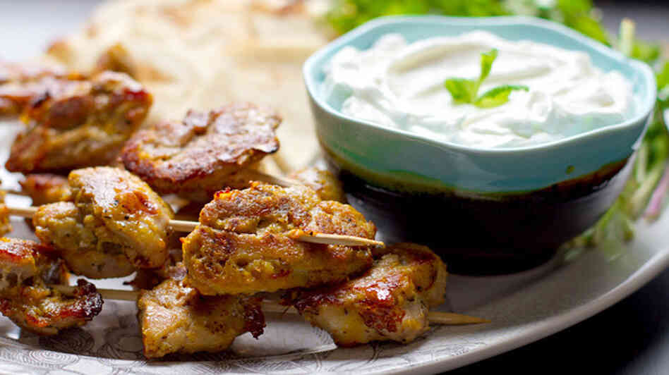 Saffron-Marinated Chicken Skewers