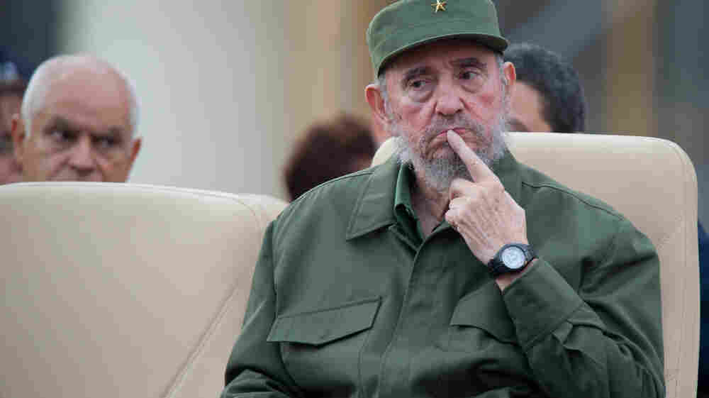 Former Cuban President Fidel Castro attends a meeting for the 50th Anniversary of the Committees of Defense of the Revolution in 2010.