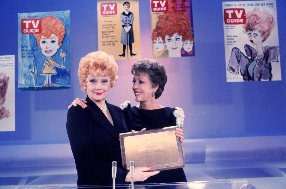 "Burnett (right) and Lucille Ball became ""joined at the hip"" early on, Burnett says. They pose together in 1982 when Ball received a TV Guide Life Achievement Award."