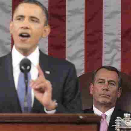 House Speaker John Boehner of Ohio watches President Obama deliver his State of the Union address, Jan. 25, 2011.