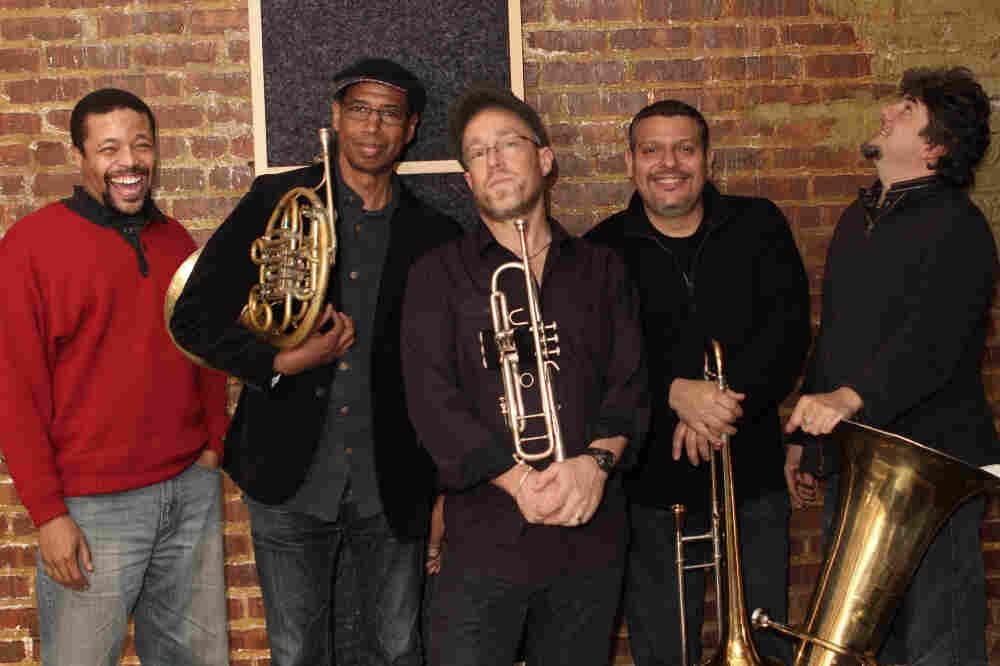 Dave Douglas and Brass Ecstasy. L-R: Nasheet Waits, Vincent Chancey, Luis Bonilla, Marcus Rojas.