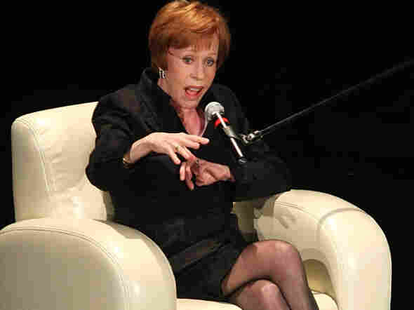 Carol Burnett speaks at the Wilshire Theatre in Los Angeles in 2008.