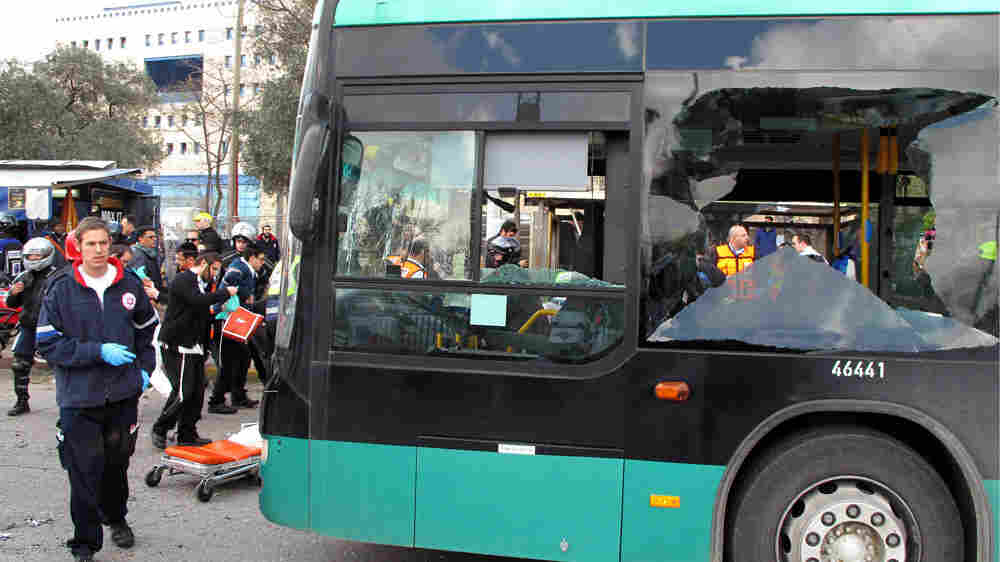 Israeli paramedics and emergency workers rushed to the scene of an explosion outside Jerusalem's central bus station on Wednesday.