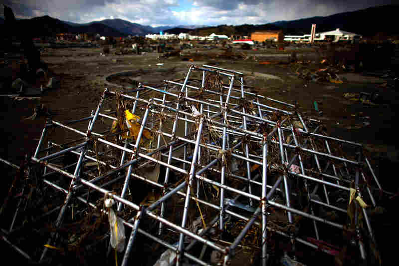 A jungle-gym is all that is left of both an elementary school's building and playground in Rikuzentakata.