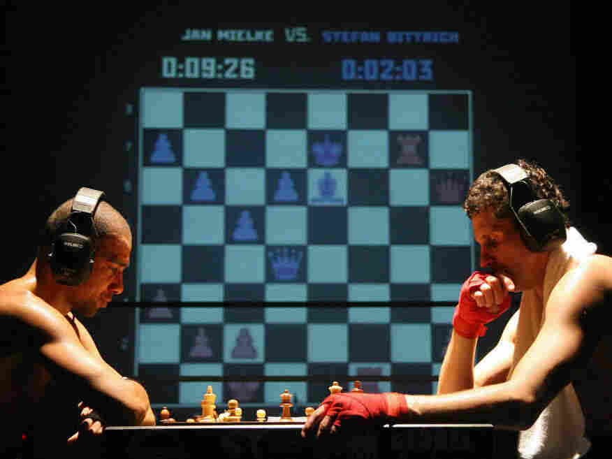 A chess boxing match in Cologne, Germany.