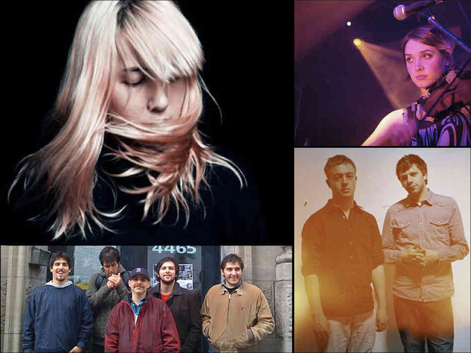 Clockwise from top left: Austra, Cheyenne Marie Mize, Mount Kimbie and Holger.