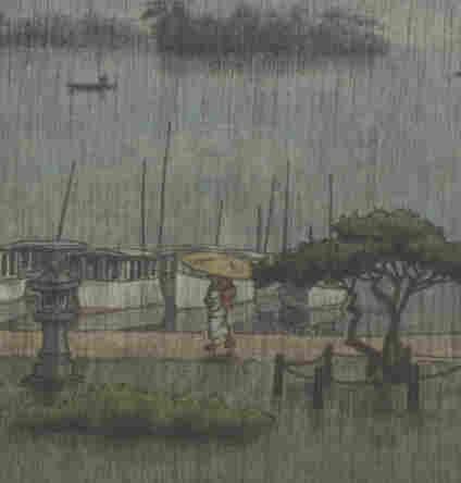 "A detail from Rain at Matsushima by Kawase Hasui, 1936/38, shows a woman walking with a parasol along the sea wall. Click ""enlarge"" to see the full image."
