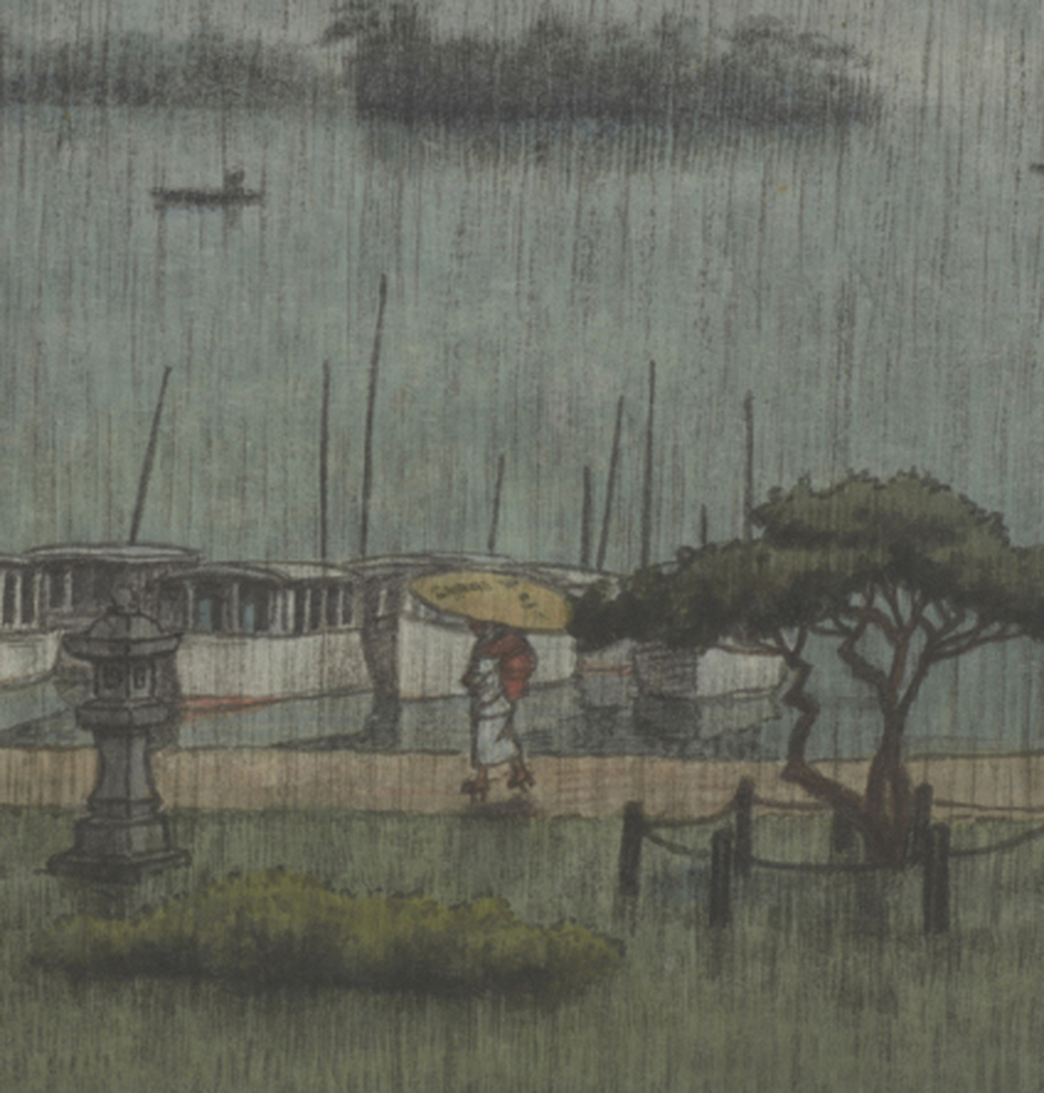 "A detail from <em>Rain at Matsushima</em> by Kawase Hasui, 1936/38, shows a woman walking with a parasol along the sea wall. Click ""enlarge"" to see the full image."