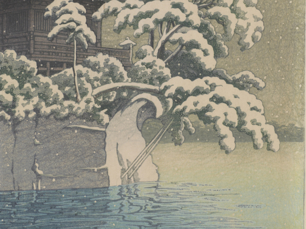 "A detail from <em>Snow at Godaido temple, Matsushima</em> by Kawase Hasui, 1932. <a href=""http://p.twipple.jp/chxUC"">Click here</a> to see a picture that suggests the Godaido temple may have withstood the tsunami."