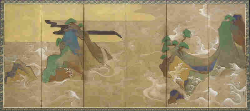 Waves at Matsushima is part of a 400-year-old set of screens by Tawaraya Sotatsu. It depicts big, stylized waves in gold and silver, engulfing islands and trees.