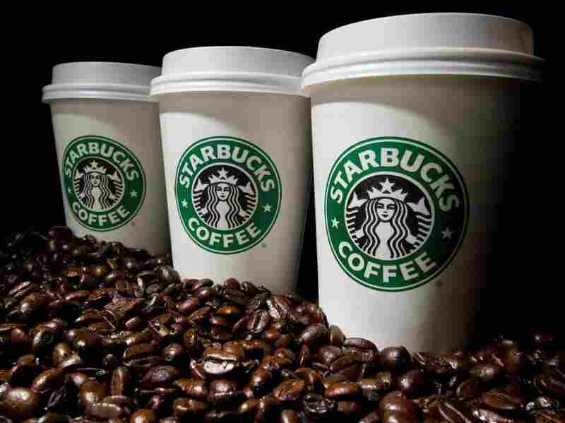 Starbucks coffee cups and beans