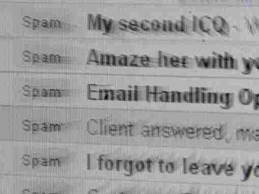 """A computer screen inbox displaying unsolicited emails known as """"spam."""""""