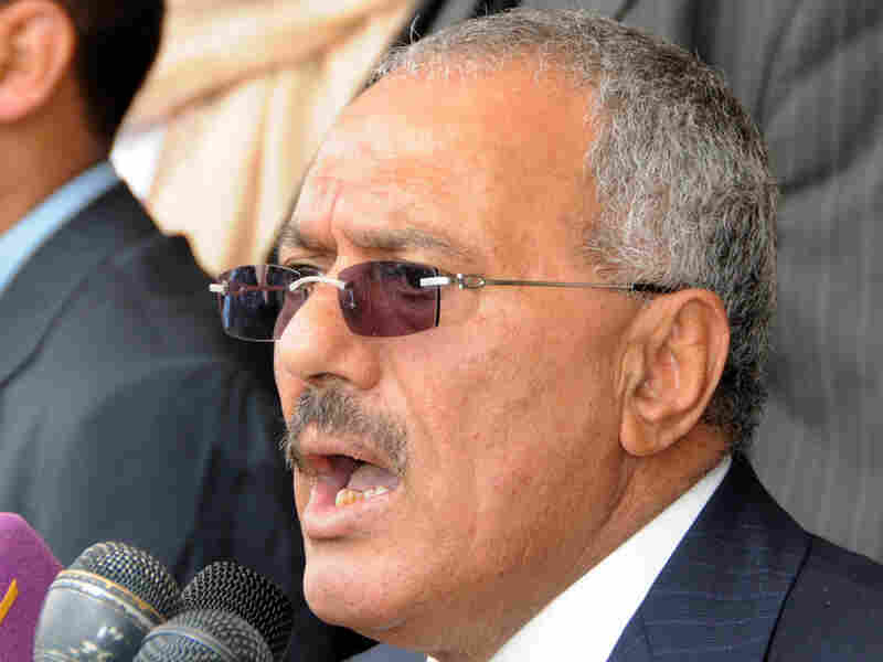 Facing growing calls for his resignation, Yemeni President Ali Abdullah Saleh delivers a speech to his supporters in Sanaa, March 25.