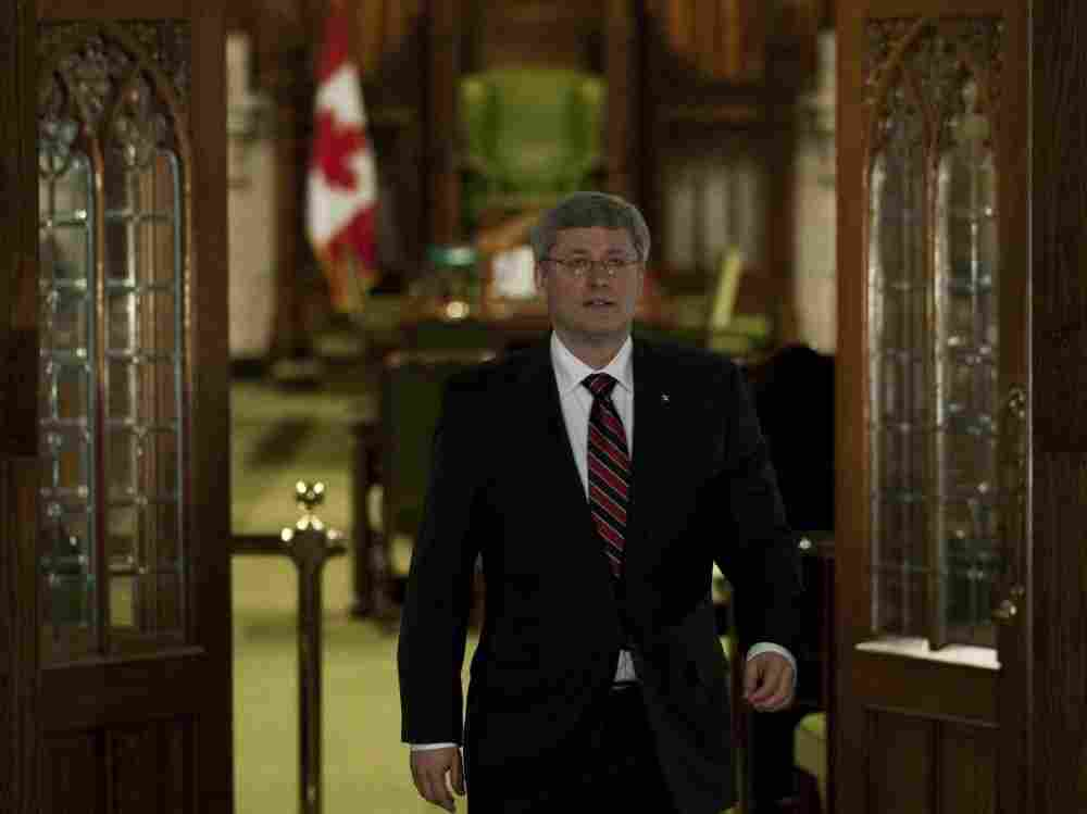 Prime Minister Stephen Harper outside the House of Commons in Ottawa on Wednesday (March 23, 2011).