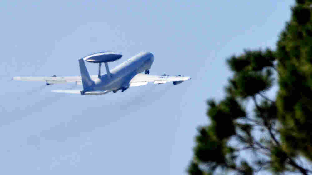 A NATO AWACS plane takes off on March 23, 2011 from Trapani-Birgi airbase in Sicily.