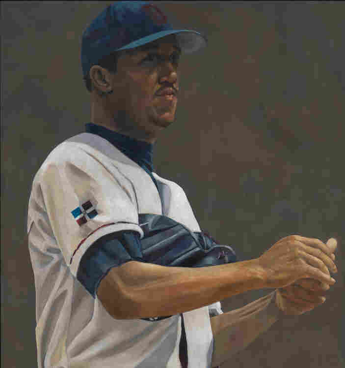 A section of Susan Miller-Havens' painting of Pedro Martinez. The painting was created in 2000 with oil and beeswax on Baltic birch