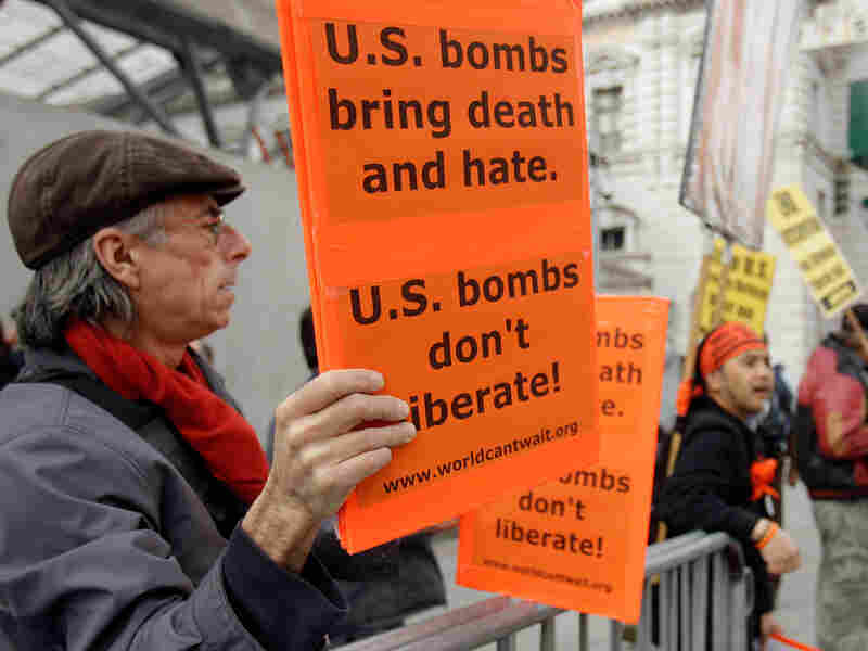 Picketers protest the American involvement in Libya on Wednesday in San Francisco.