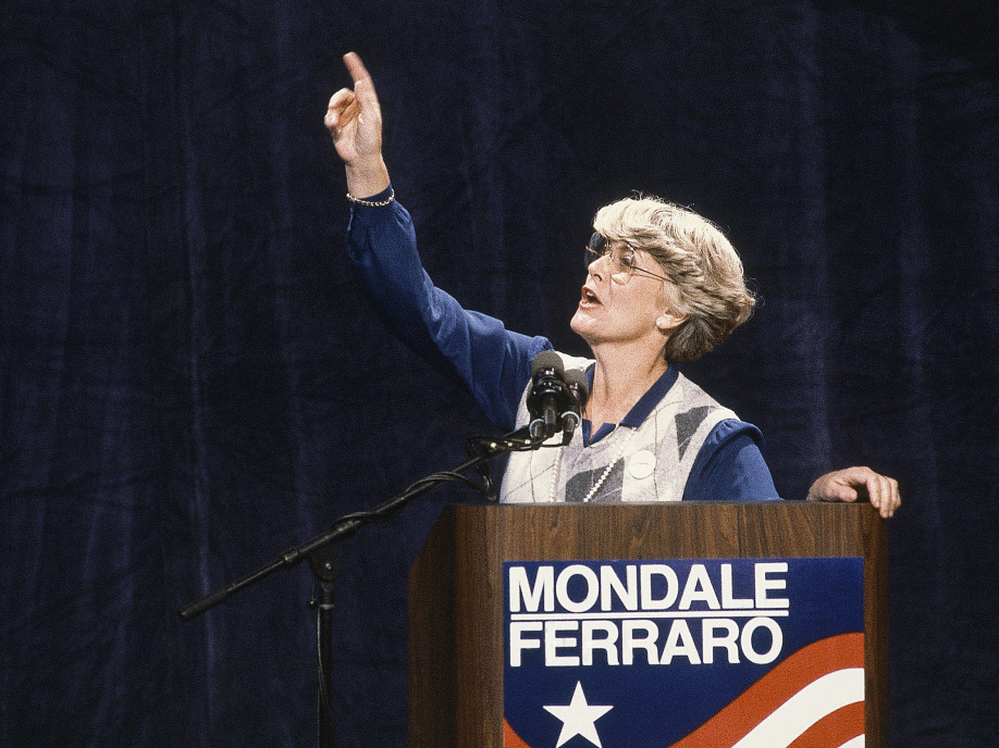 Geraldine Ferraro, seen in 1984,  was the first woman to run for U.S. vice president on a major party ticket has died.