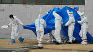 Japan Self-Defence Force officers in radiation protection suits hold a blue sheet over workers who were exposed this week to high levels of radiation at the Fukushima Dai-ichi plant.