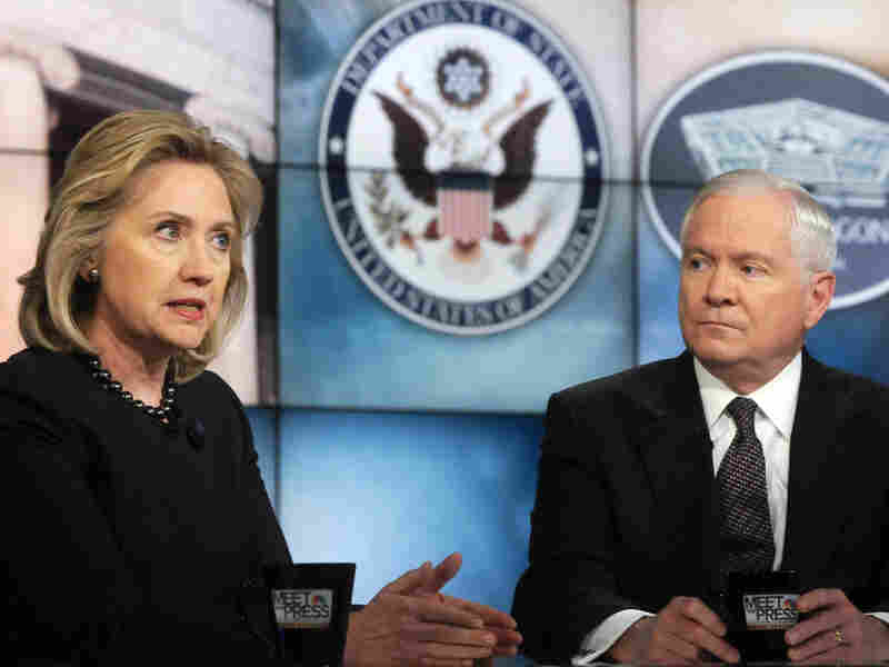 In a photo released by NBC News, Secretary of State Hillary Clinton and Secretary of Defense Robert Gates discuss Middle East policy on Meet the Press.