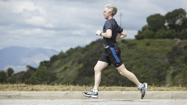 Paul Rider runs on Mulholland Drive in Los Angeles, March 25, 201