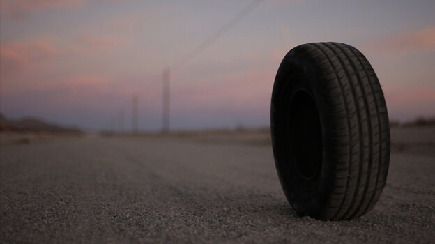 """They See Me Rollin': """"Robert"""" is a tire with telekinetic powers — and an increasingly unpleasant way of putting them to work — in Quentin Dupieux's consciously anarchic horror comedy Rubber."""