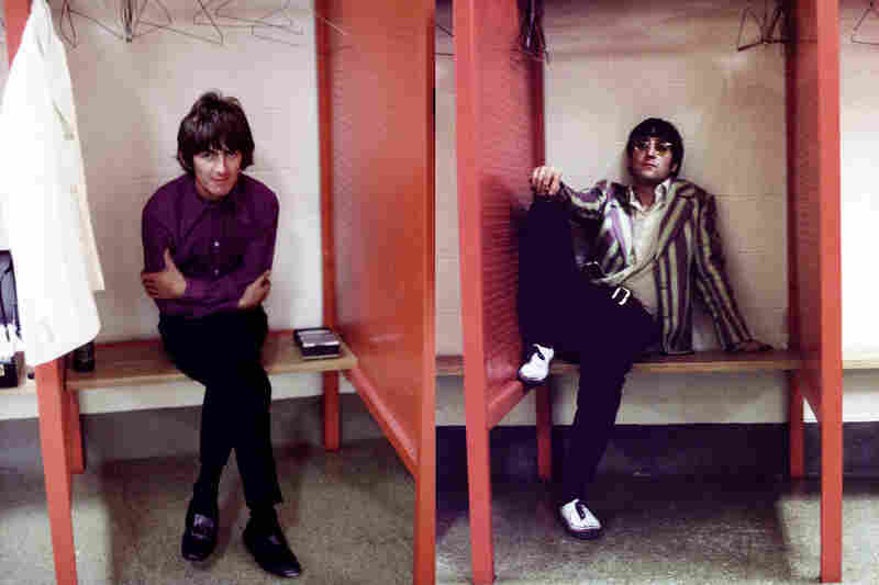 Harrison and Lennon at Busch Memorial Stadium in St. Louis on Aug. 21, 1966.